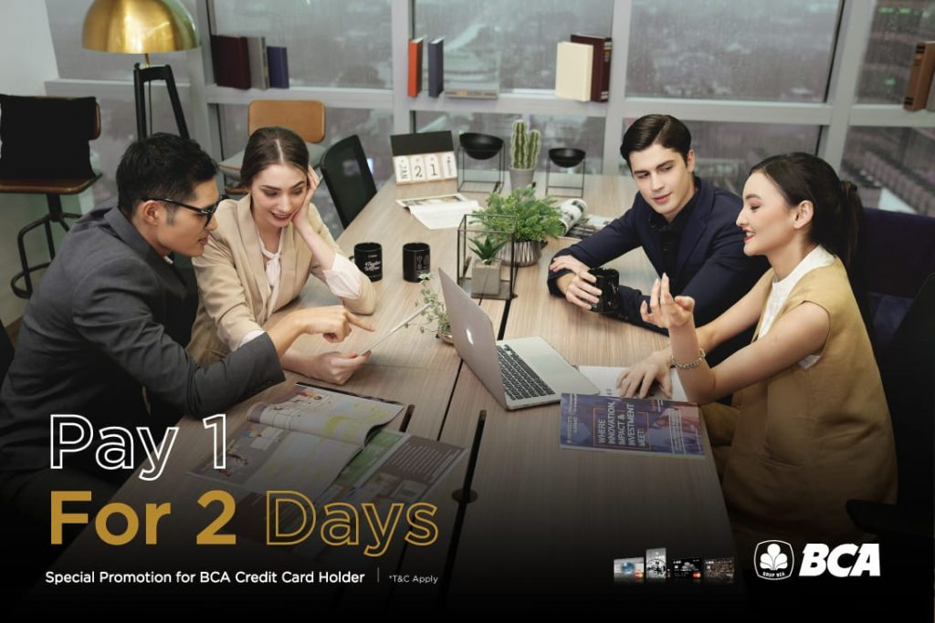GoWork-BCA Partnership Promo: <br>Pay 1 for 2 Days